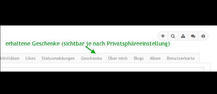 Geschenke-TAB im Userprofil